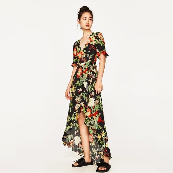 0376de131 Zara Long floral print dress